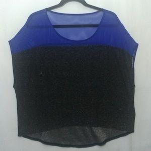 Blue & Black Short Sleeve Guess Top